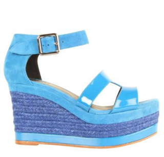 Hermes Blue Suede Ilana Espadrille Wedge Sandals
