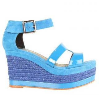 Hermes Blue Suede Ilana Espadrille Wedge Sandals