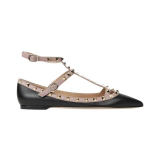 Valentino Black/Poudre Leather Caged Rockstud Flats