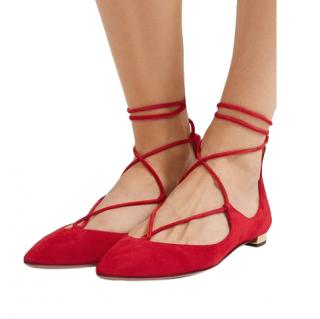 Aquazzura Red Suede Christy Lace-Up Ballerina Flats