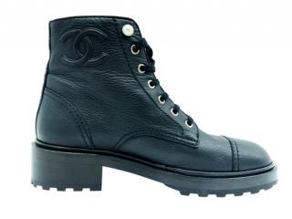 Chanel Faux Pearl Detail Black Leather Biker Boots