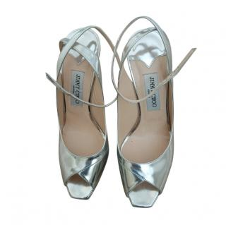 Jimmy Choo Mirrored Silver Strappy 85mm Sandals