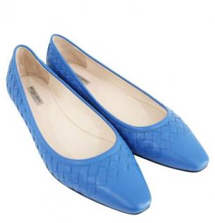 Bottega Veneta Blue Nappa Intrecciato Leather Ballerinas