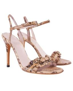 Gucci Natural Python Ruffle Buckle Slingback Sandals
