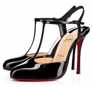 Christian Louboutin Me Pam 100 Patent-leather T-bar Pumps In Black