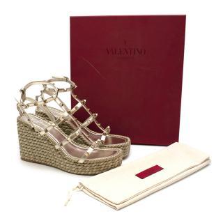 Valentino Platinum Leather Rockstud Torchon Wedge Sandals