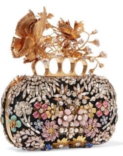 Alexander Mcqueen jewelled embellished satin knuckle clutch