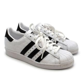 Adidas White & Black Embossed Trainers