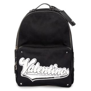 Valentino Black Logo Applique Canvas Backpack