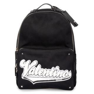 Valentino Black Logo Applique Canvas Backpack
