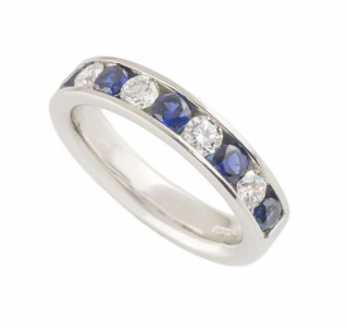 Bespoke Platinum Set Diamond & Sapphire Half Eternity Ring