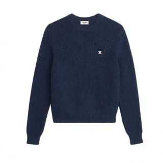Celine Embroidered Triomphe Wool Jumper