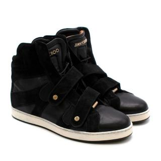 Jimmy Choo Black Leather Hightop Trainers: Size 34.5