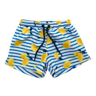 Sunuva Blue & Yellow Striped Lemons Print Swim Shorts
