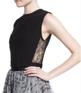 Alice + Olivia Lace Panel Leather Trim Flynn Crop Top