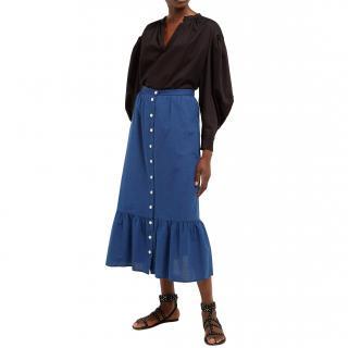 MiH Indigo Chambray Button Down Midi Skirt