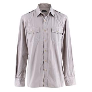 Tom Ford Grey Cotton Long Sleeve Casual Shirt
