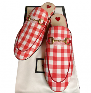 Gucci Red Gingham Princetown Slippers