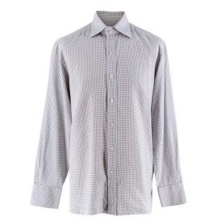 Tom Ford Grey Cotton Checkered Long Sleeve Shirt