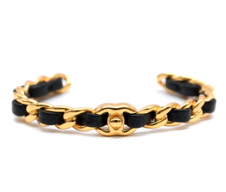 Chanel Gold Tone Calfskin Chain CC Open Bracelet