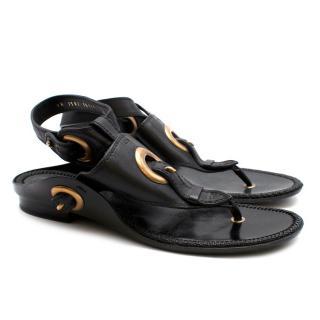 Salvatore Ferragamo Black & Gold Leather Sandals