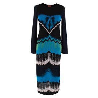 Missoni Black Blue & Green Metallic Knit Midi Dress