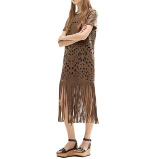 Uterque Brown Lasercut Leather Fringed Dress