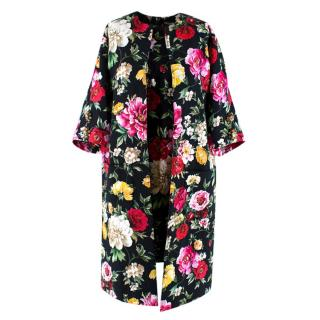 Dolce & Gabbana Floral Brocade Cocoon Coat & Sleeveless Dress