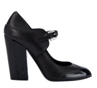 Chanel Block Heeled Patent Cap-Toe Mary Janes