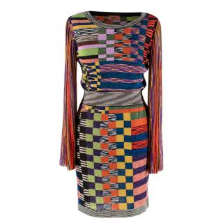 Missoni Multicoloured Lurex Knit Fitted Dress with Pleated Sleeves