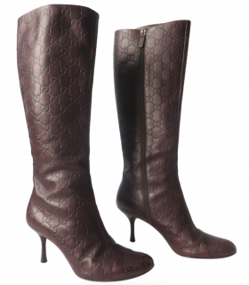 Gucci Guccissima Brown Heeled Tall Boots
