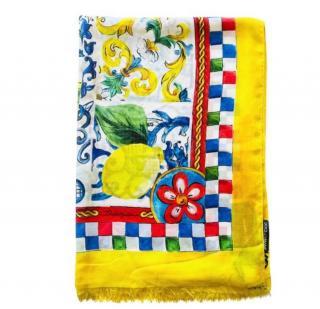 Dolce & Gabbana Sicily Lemon Print Cashmere Blend Scarf