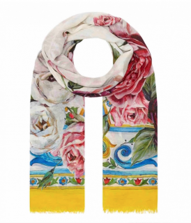 Dolce & Gabbana Pivoine Rose Print Cashmere Blend Stole