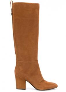 Sergio Rossi tan tall block heel boots