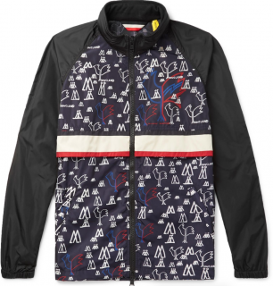 Moncler Genius Men's Blue 2 Moncler 1952 Allos Printed Nylon Jacket