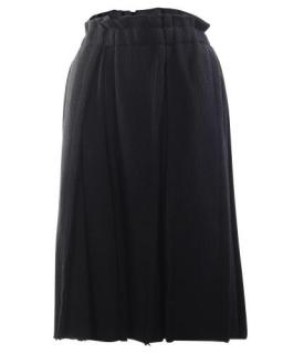 Comme Des Garcons Black Distressed Wool Ribbed Skirt
