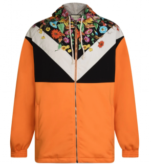 Gucci Orange Floral Print Shell Hooded jacket