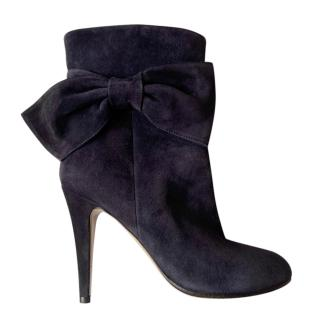 Valentino Black Suede Bow Detail Ankle Boots