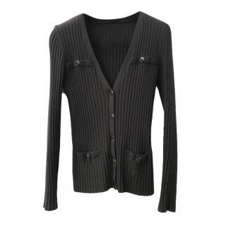 Wolford Black Ribbed Knit Cardigan
