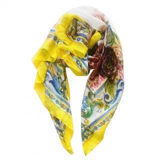 Dolce & Gabbana Majolica Print Plisse Wrap Scarf
