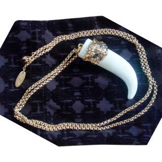 Roberto Cavalli Cat-Head Embellished Tusk Necklace