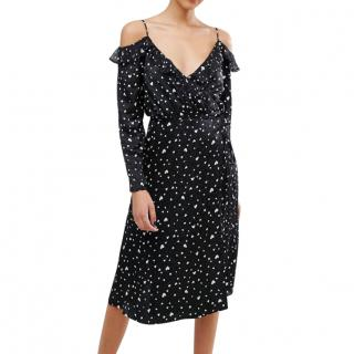 Essential Antwerp Heart Print Black Oba Wrap Dress