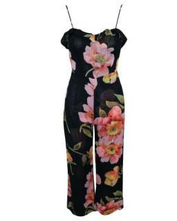 Reformation Black Floral Print Ruffle Trim Jumpsuit