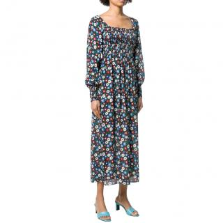 Rixo Multicoloured Floral Print Crepe Midi Dress