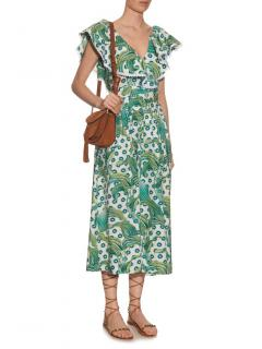 Temperley Green Twill Florrie Midi Dress