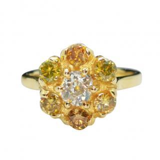 David Simmons Yellow & White Diamond 18ct Gold Flower Ring