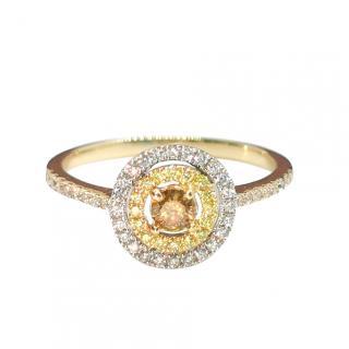 Bespoke Double Halo Champagne, Yellow & White Diamond Ring