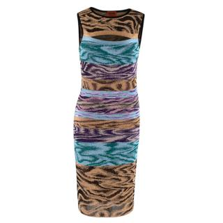 Missoni Blue Purple & Gold Knit Fitted Cut-Out Dress