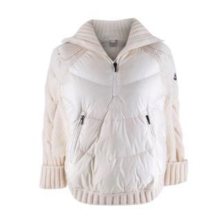 Moncler  Kids 14Y Cream & White Down & Knit Poncho Jacket