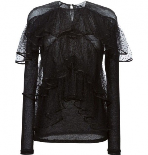 Givenchy black tiered sheer blouse